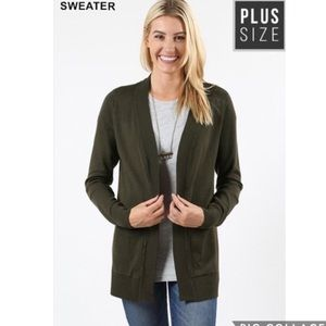 Olive Brown Open Front Cardigan - Plus Size